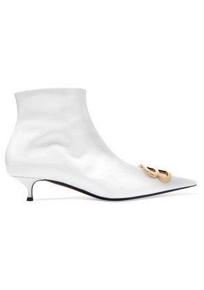 Balenciaga - Knife Logo-embellished Patent-leather Ankle Boots - White