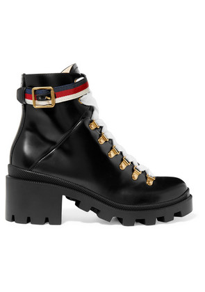 Gucci - Grosgrain-trimmed Leather Ankle Boots - Black
