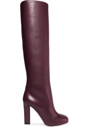 Victoria Beckham - Rise Leather Knee Boots - Burgundy