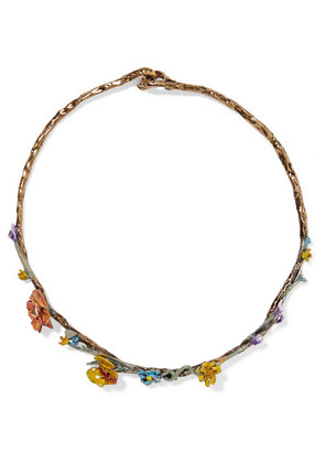 Valentino - Valentino Garavani Bloomy Enameled Gold-tone Necklace - one size