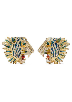 Gucci - Gold-plated, Crystal And Enamel Earrings - one size
