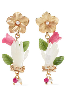 Of Rare Origin - Forget Me Not Gold Vermeil Multi-stone Earrings - one size