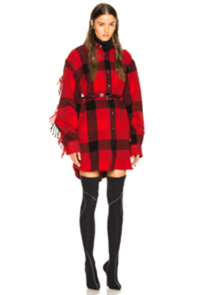 VETEMENTS Flannel Western Shirt in Black,Plaid,Red