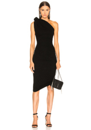 Brandon Maxwell Rib Knit Knot Shoulder Mini Dress in Black