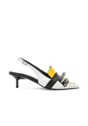 Marques ' Almeida Spiked Leather Slingback Mules in White