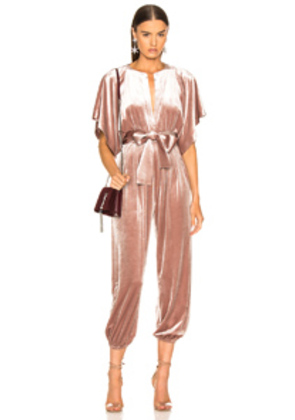 Norma Kamali Rectangle Velvet Jog Jumpsuit in Pink