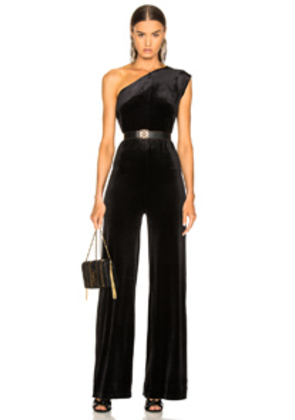 Norma Kamali One Shoulder Velvet Jumpsuit in Black