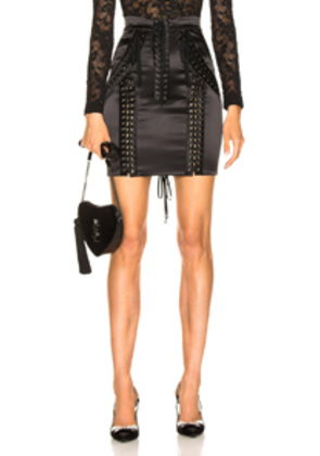 Dolce & Gabbana Lace Up Satin Skirt in Black