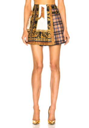 VERSACE Mixed Print Pleated Skirt in Animal Print,Orange,Yellow,Neutral,Plaid,Red