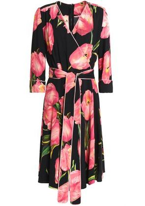 Dolce & Gabbana Woman Floral-print Crepe Wrap Dress Black Size 38