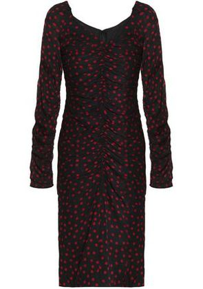 Dolce & Gabbana Woman Ruched Polka-dot Stretch-silk Dress Black Size 38