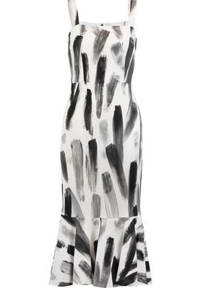 Dolce & Gabbana Woman Printed Crepe Midi Dress White Size 38