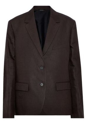 Jil Sander Woman Linen-twill Blazer Dark Brown Size 40