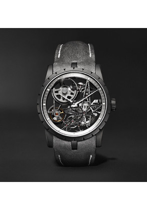Excalibur Spider Automatic Skeleton 42mm Titanium And Leather Watch