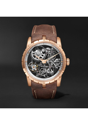 Excalibur Spider Automatic Skeleton 42mm 18-karat Pink Gold And Leather Watch