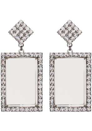 Alessandra Rich metallic silver crystal embellished rectangle earrings