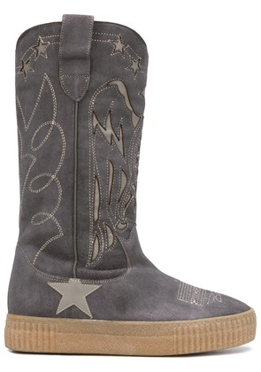 Golden Goose Deluxe Brand embroidered mid-calf boots - Grey