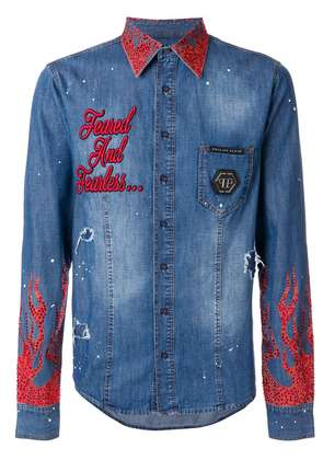 Philipp Plein crystal embellished jacket - Blue