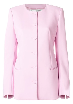 Off-White round neck fitted jacket - Pink