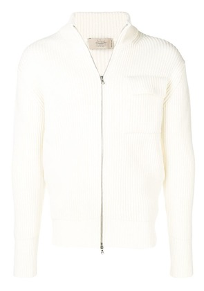 Maison Flaneur ribbed knitted jacket - White