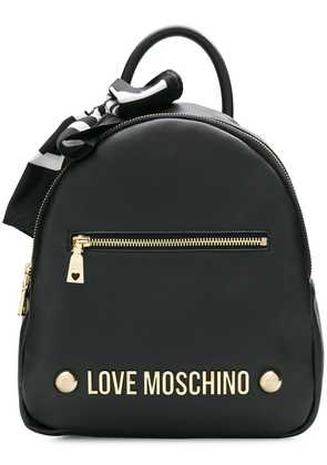 Love Moschino logo scarf backpack - Black