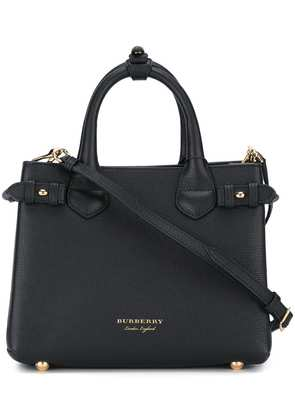 Burberry The Small Banner in Leather and House Check - Black