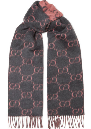 Gucci - Fringed Alpaca And Wool-blend Scarf - Pink