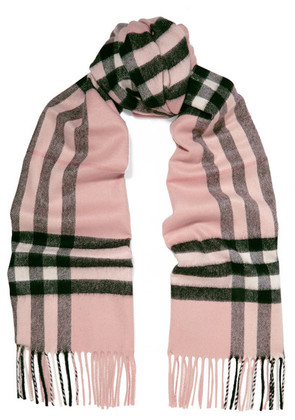 Burberry - Fringed Checked Cashmere Scarf - Pink