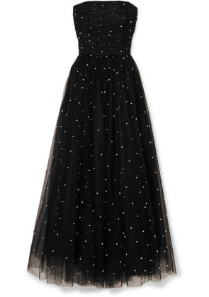 Monique Lhuillier - Faux Pearl-embellished Tulle Gown - Black