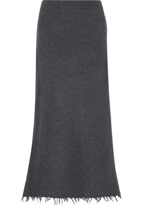 Jil Sander - Frayed Wool And Cashmere-blend Midi Skirt - Gray