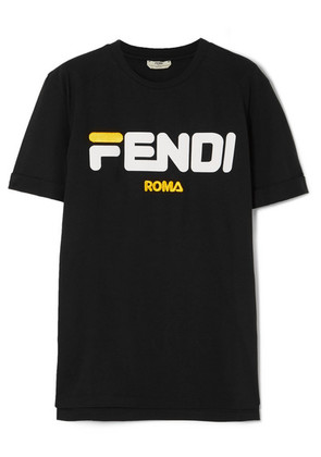 Fendi - + Fila Flocked Embroidered Cotton-jersey T-shirt - Black