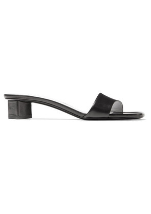 The Row - Chocolate Leather Mules - Black