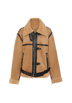 Victoria Victoria Beckham Leather-Trimmed Shearling Coat