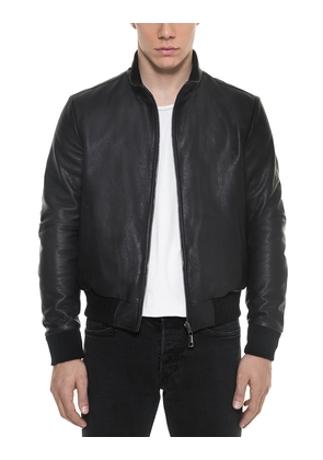Forzieri Leather Jackets, Dark Blue Leather and Nylon Men's Reversible Jacket