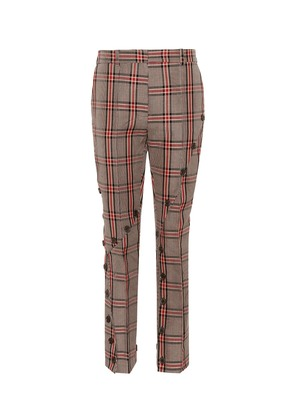 Checked cotton-blend pants