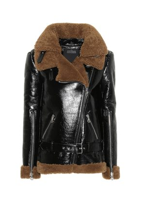 Shearling patent leather jacket
