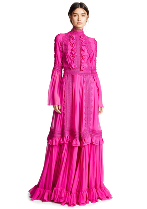 Costarellos Ruffle Neck Tiered Dress with Bell Sleeves