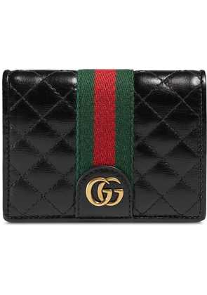 Gucci Leather card case with Double G - Black