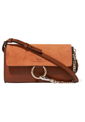 Chloé - Faye Mini Leather And Suede Shoulder Bag - Tan