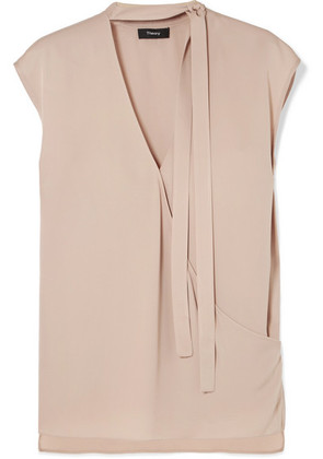 Theory - Pussy-bow Wrap-effect Silk Blouse - Beige