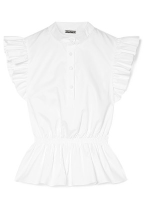 Adam Lippes - Ruffle-trimmed Cotton-poplin Peplum Top - White