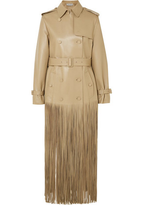 Valentino - Double-breasted Fringed Leather Trench Coat - Beige