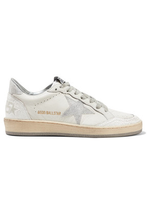 Golden Goose Deluxe Brand - Ball Star Glittered Distressed Leather Sneakers - White