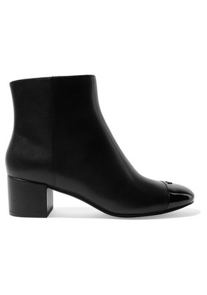 Tory Burch - Shelby Patent-trimmed Leather Ankle Boots - Black