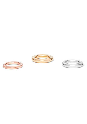 Charlotte Chesnais - Brahma Set Of Three Silver, Gold And Rose Gold Vermeil Rings - 53