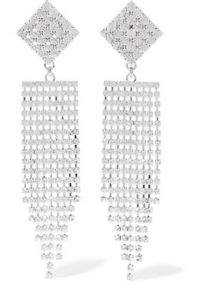Alessandra Rich - Silver-tone Crystal Clip Earrings - one size
