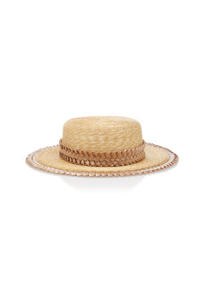 Gigi Burris Exclusive Agnes Woven-Trimmed Straw Boater