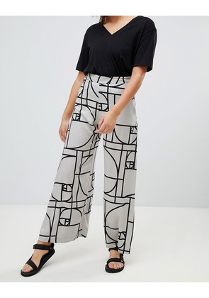 Weekday wide leg trousers in deco print - Golden dots