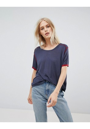 Weekday Retro T-shirt with Piping - Navy