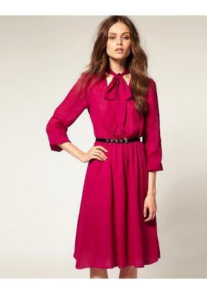 ASOS Pussybow Midi Dress with Elastic Waist - Pink